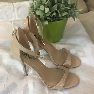 Mossimo nude faux leather strappy heels